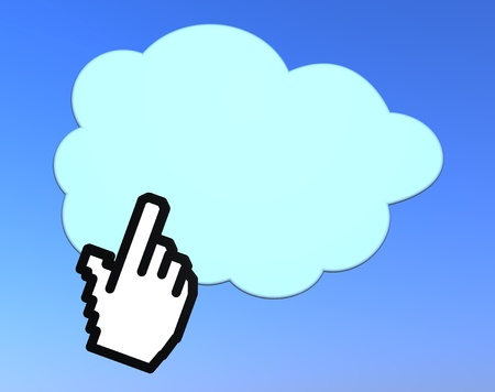 one hand cursor click on a cloud. concept of cloud computing (3d render) Stock Photo - 9865342