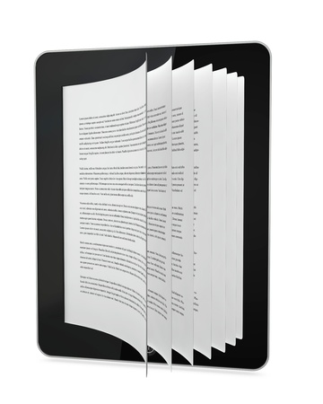 one tablet with pages that go out from the display. concept of ebook or online learning (3d render) photo