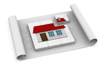 one house blueprint with several cubes that form a house. one of the cubes isnt in the right place, showing the concept of home in construction (3d render) photo