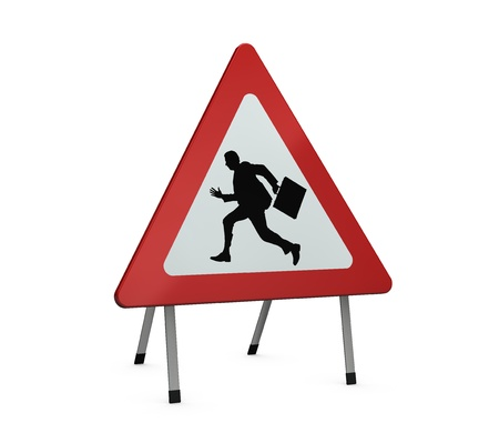one road sign with the silhouette of a manager running. Can also used for the concept of stress (3d render) photo