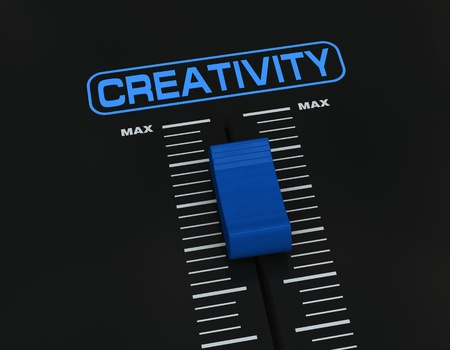 dj mixer: one mixer slider near to max value with the label CREATIVITY (3d render)