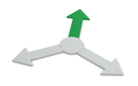 three arrows pointing in several directions, with one green indicating the right way (3d render) photo
