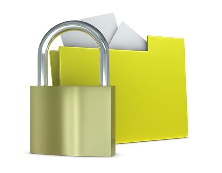 one computer folder with a padlock in front of it to protect data (3d render) photo