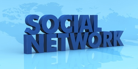 background with the map of earth and the words SOCIAL NETWORK over it (3d render) Stock Photo - 9882814