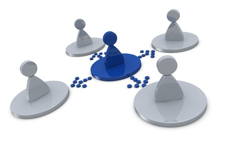 assign: concept of teamwork with a leader that organizes the work (3d render)
