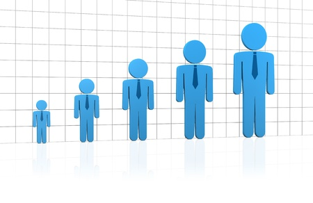 bar chart with stylized business men growing (3d render) Stock Photo - 9872635