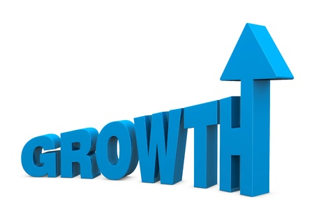 expansion: the word GROWTH with increasing size letters and an arrow on top of the last letter (3d render) Stock Photo