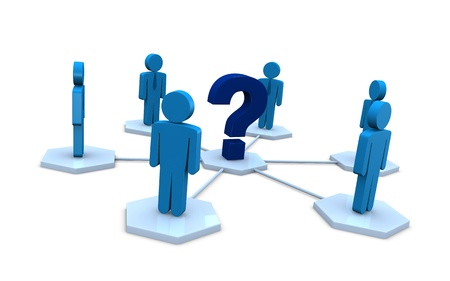 several businessmen with a question mark instead of the leader (3d render) Stock Photo - 9872632