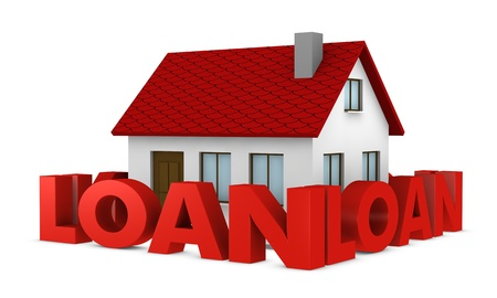 financial obstacle: one house with a wall around it made with the word loan (3d render)
