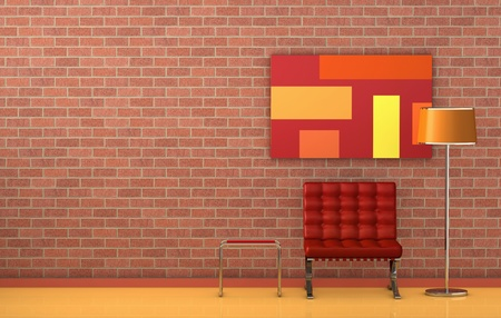 one room with the wall made with bricks. There are a lamp, a well known armchair and a table, the perfect relax corner (3d render) photo