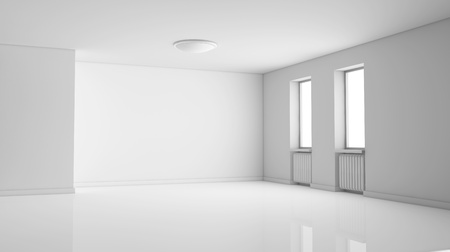 living room wall: one empty bright  room with two windows. the room is all white with no textures (3d render) Stock Photo