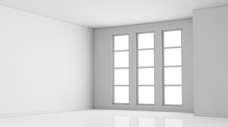 large office: one empty bright  room with three big windows. the room is all white with no textures (3d render)