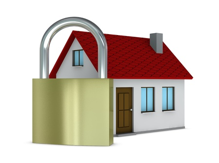 one house with a padlock in front of it, concept of protection e safety (3d render) Stock Photo - 9882813