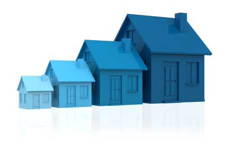 four houses. every house is greater than the previous and has a darker colour (3d render) photo