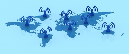 one earth map with people with wifi symbol all over it (3d render) photo
