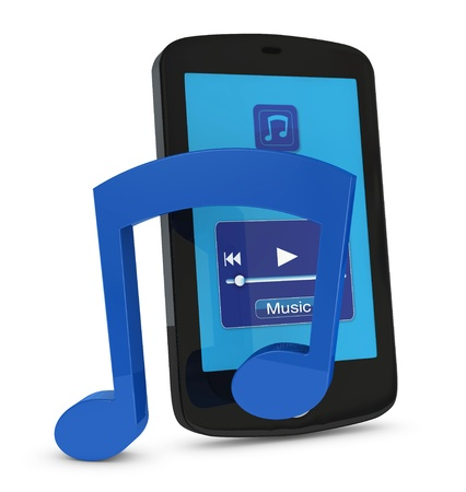 portable player: one cellphone with the screen showing a music player interface and a musical note in front of it (3d render)