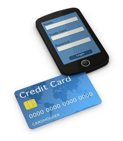 reader: one cell phone with the display showing a online transaction login screen. There is a credit card that enters on the phone like a credit card reader (3d render) Stock Photo