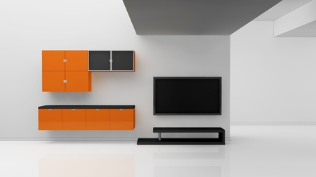 minimal living room with a television (3d render)