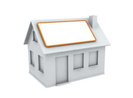 one white house with an empty label on the roof (3d render) photo