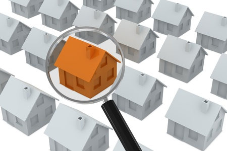 a lot of white houses with one of orange color pointed out by a magnifyng glass (3d render) photo