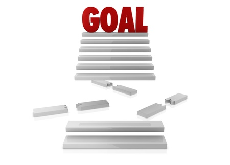 one staircase with some steps broken and the word GOAL on top (3d render) Stock Photo - 9929089