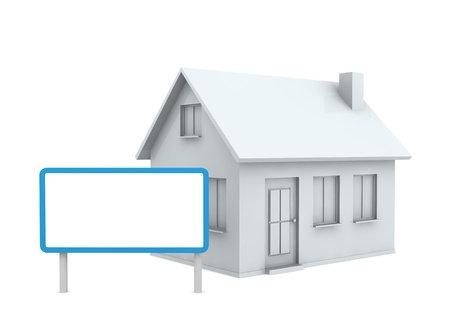 one stylized house with an empty signboard (3d render) photo