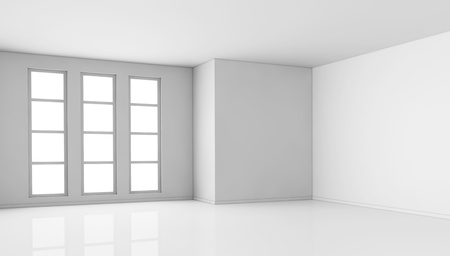 one empty bright  room with three big windows. the room is all white with no textures (3d render) Stock Photo - 9929111