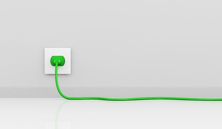 one wall with an electric plug and a cable of green color (3d render). some empty space for further personalizations photo