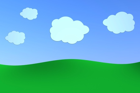 green hills with a blue sky and some clouds, made using a cartoon style. the scene is intentionally empty for further personalizations (3d render) photo