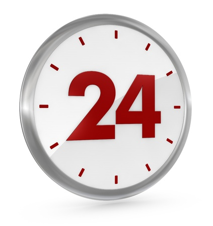 availability: one clock with the number 24 on the center, concept of full availability (3d render) Stock Photo
