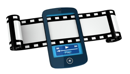 hardware store: one film strip passing across a cellphone (3d render) Stock Photo