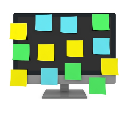 one computer display filled with a lot of colored sticky notes (3d render) Stock Photo - 10083166