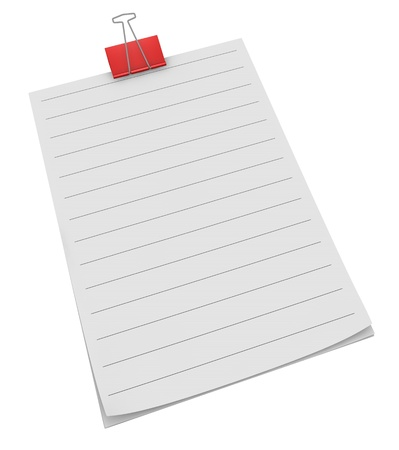 block note: block notes with a red clip and lined paper (3d render)