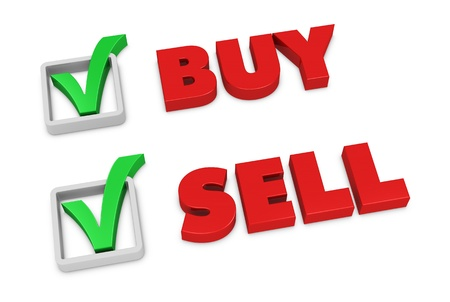beside: the words SELL and BUY with a check mark beside them (3d render)