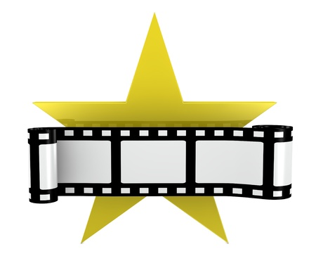hollywood stars: one film strip with a yellow star (3d render)