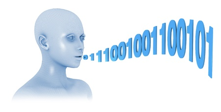 one head with a wire-frame texture who speaks using binary numbers (3d render) photo