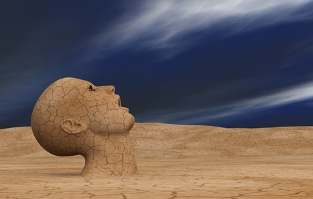 hot climate: one head with the mouth open emerges from a desert land, waiting for some water (3d render)