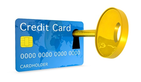 one credit card with a keyhole and a key, concept of protection and security (3d render) photo