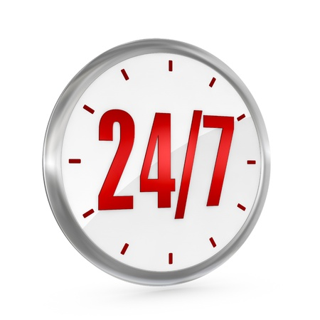24 7: one clock with the numbers 24 and 7 on center, concept of full availability (3d render) Stock Photo