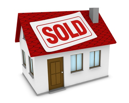 sold sign: one house with a label with the word sold on the roof (3d render) Stock Photo