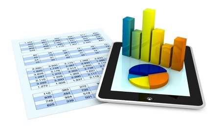 financial analysis: one paper with a spreadsheet and a tablet that shows the graphs, concept of tecnology supporting the financial analisys (3d render) Stock Photo