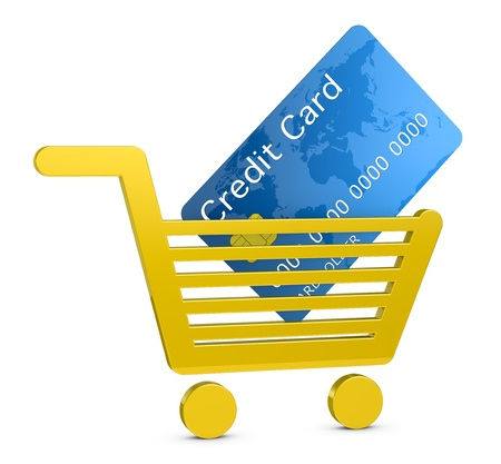 cart cash: one shopping cart with a credit card, concept of shopping with electronic payment or online shopping (3d render) Stock Photo