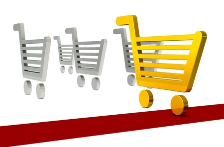 a race with shopping carts with the one winning (3d render) Stock Photo - 10514175