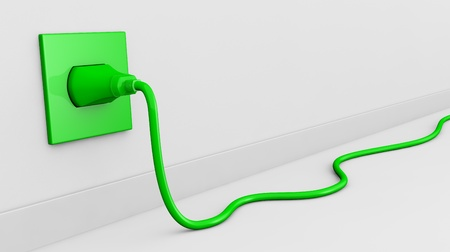 electric green: one wall with an electric plug and a cable of green color (3d render). some empty space for further personalizations Stock Photo
