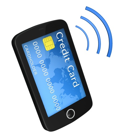 charge card: one smartphone with a credit card instead of  the display. concept of online shopping (3d render)