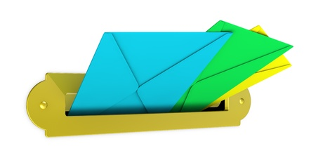 one mailbox with several envelopes (3d render) photo