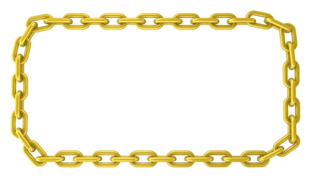 one rectangular frame made with a golden chain (3d render) photo