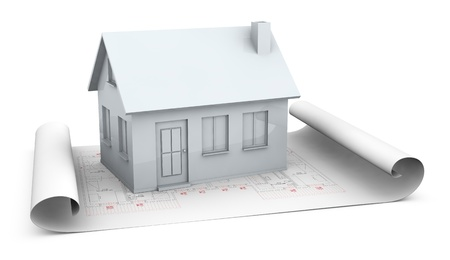 one house plan with a house model over it (3d render) photo
