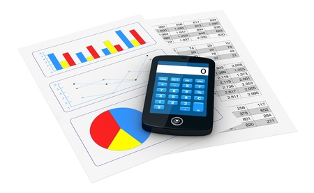 one smartphone with a calculator application and 2 papers with spreadsheet and charts (3d render) photo