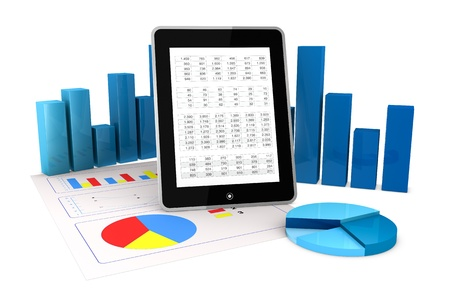 online trading: one computer tablet showing a spreadsheet and a paper with statistic charts, surrounded by some 3d charts (render) Stock Photo